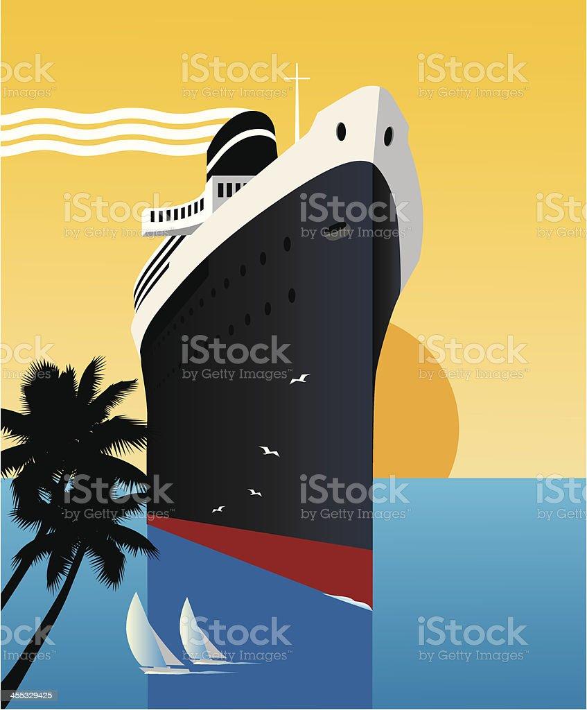 Tropics Cruise Ship vector art illustration
