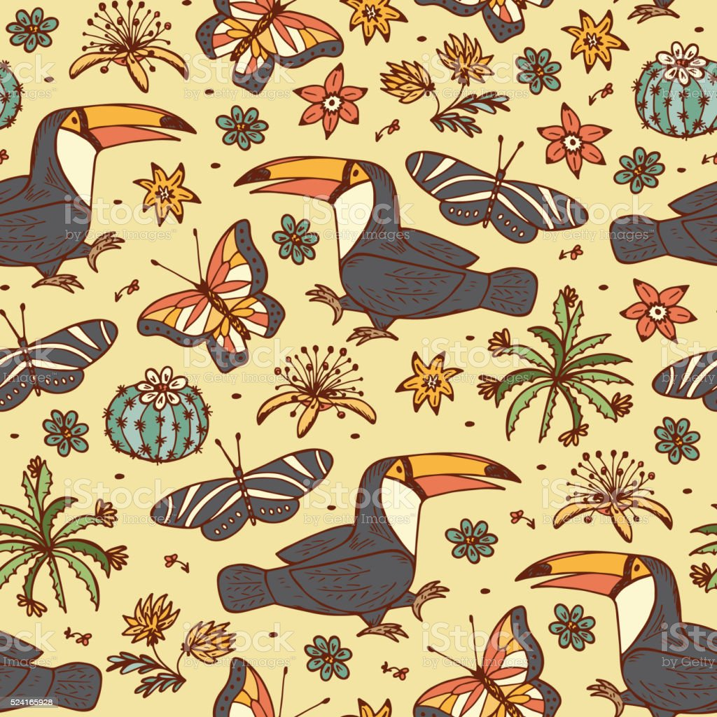 Tropics seamless pattern. Birds. Hand drawn doodle Toucan, butterflies, flowers. vector art illustration