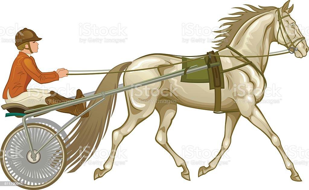 Trotter in harness vector art illustration