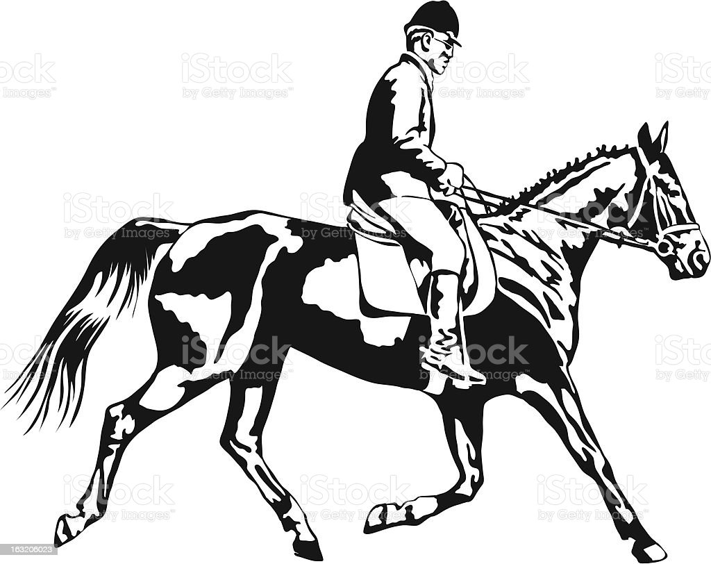trotting horse with rider on tournament royalty-free stock vector art