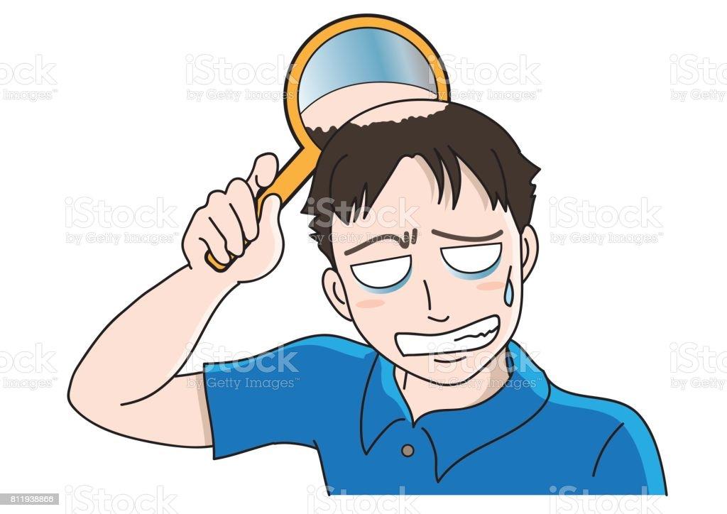 Trouble of hair loss for men vector art illustration