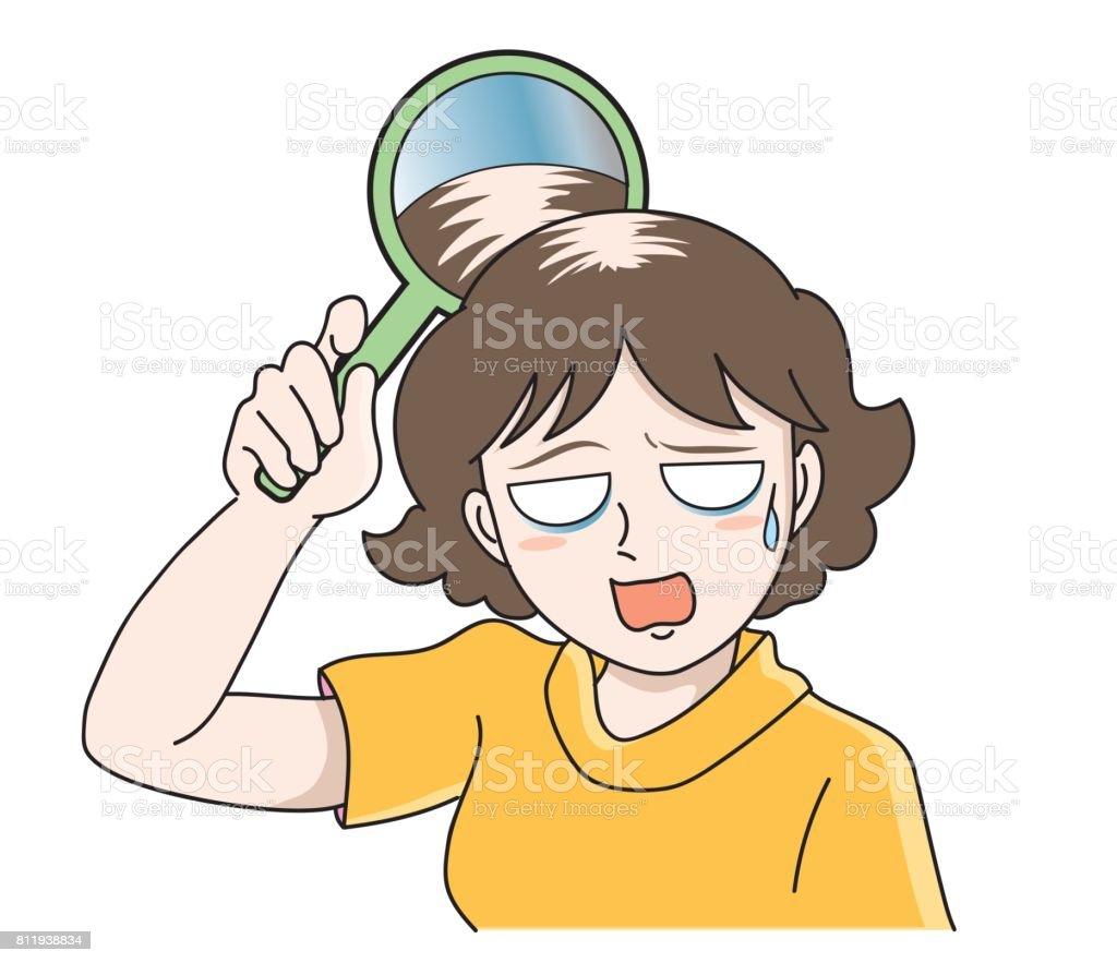 Trouble of hair loss for women vector art illustration