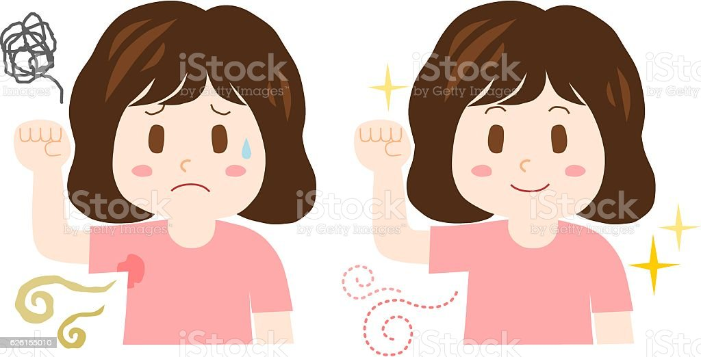 Trouble of the body odor(woman) vector art illustration