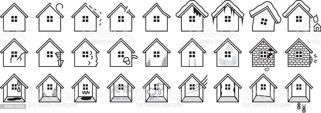 Troubles of housing vector art illustration