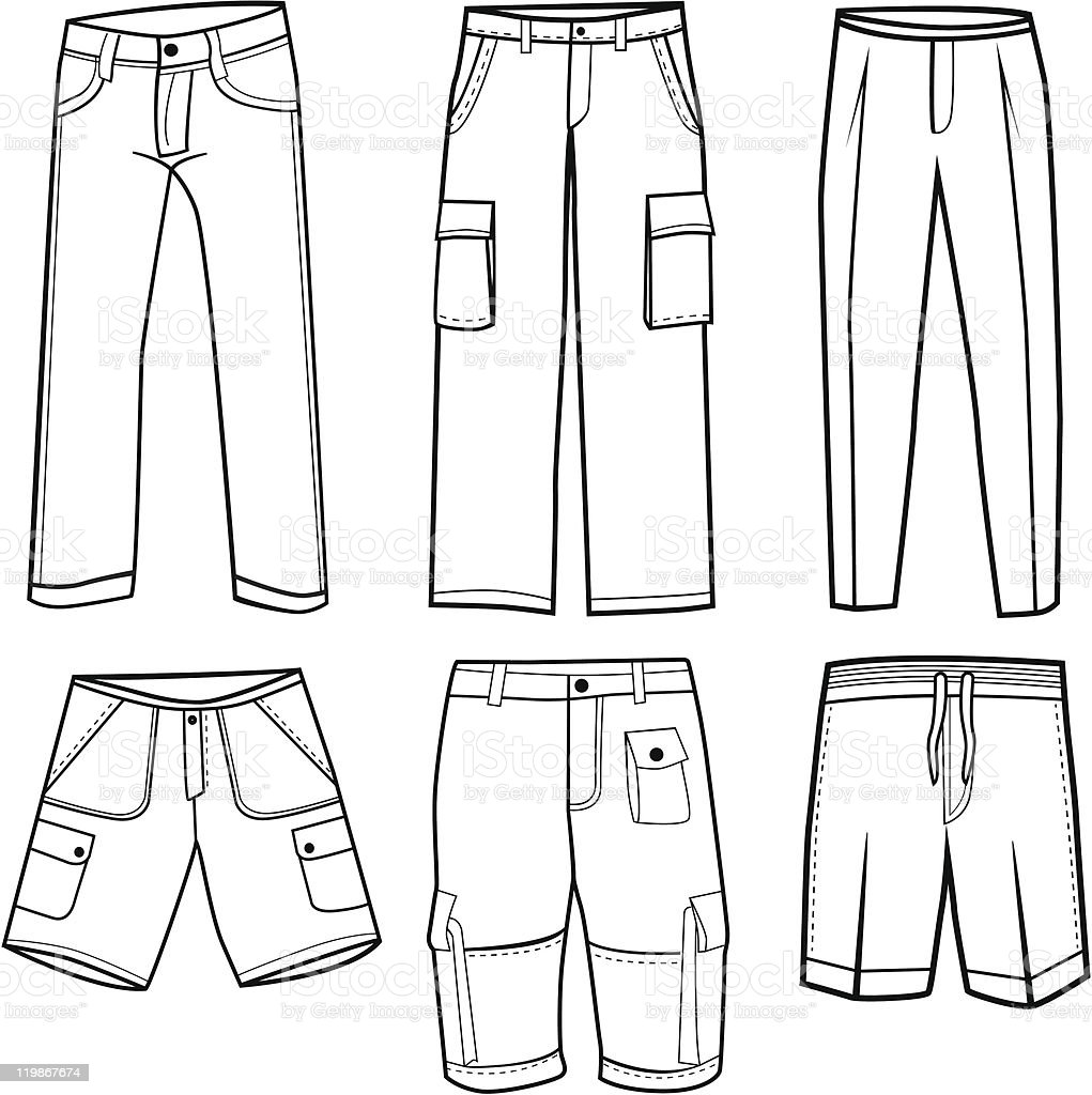 Trousers and Shorts royalty-free stock vector art