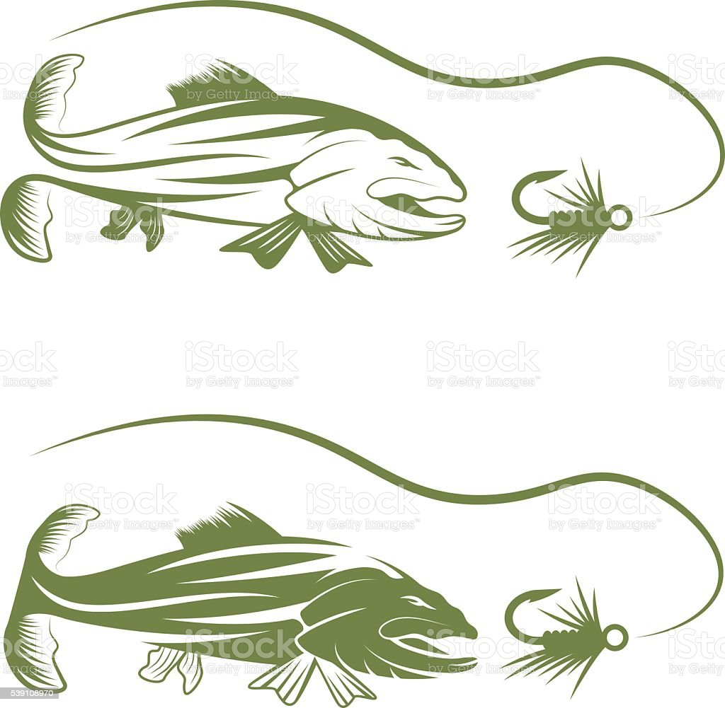 trout and lure fishing vector design template vector art illustration