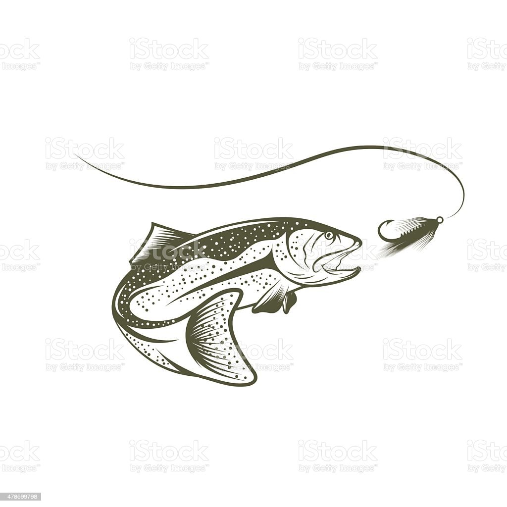trout and lure vector design template vector art illustration