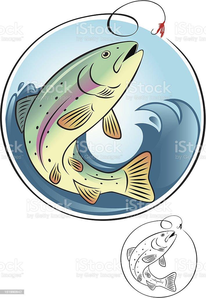 trout fish vector art illustration