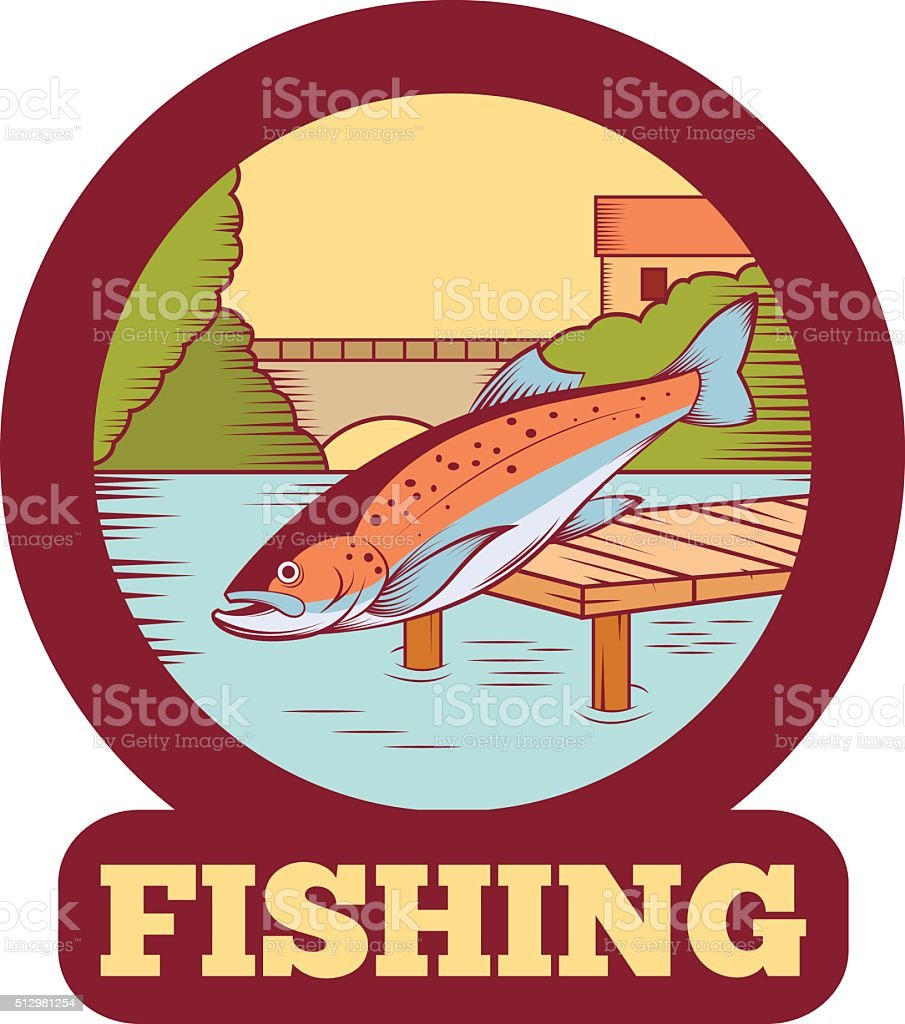 Trout fishing banner vector art illustration