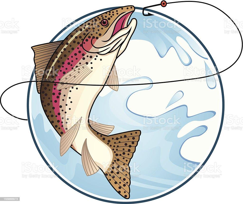 Trout fishing vector art illustration