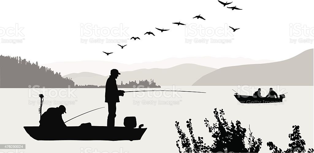 Trout Fishing vector art illustration