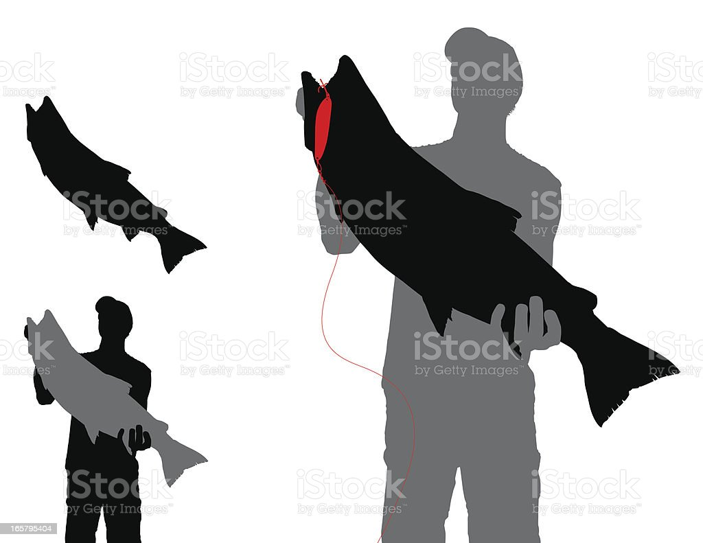 Trout with Lure and Fisherman Silhouette vector art illustration