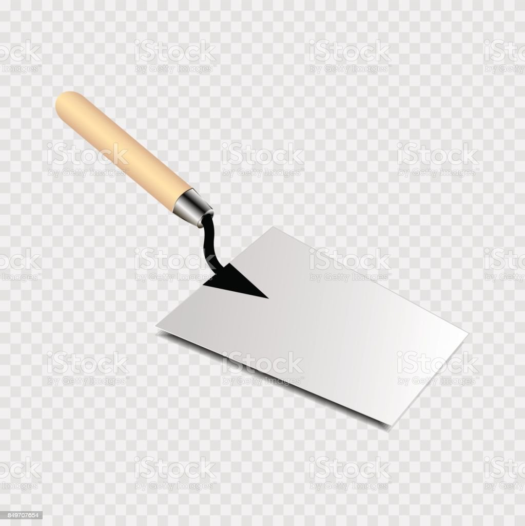 Trowel with yellow handle icon on a transparent background vector art illustration