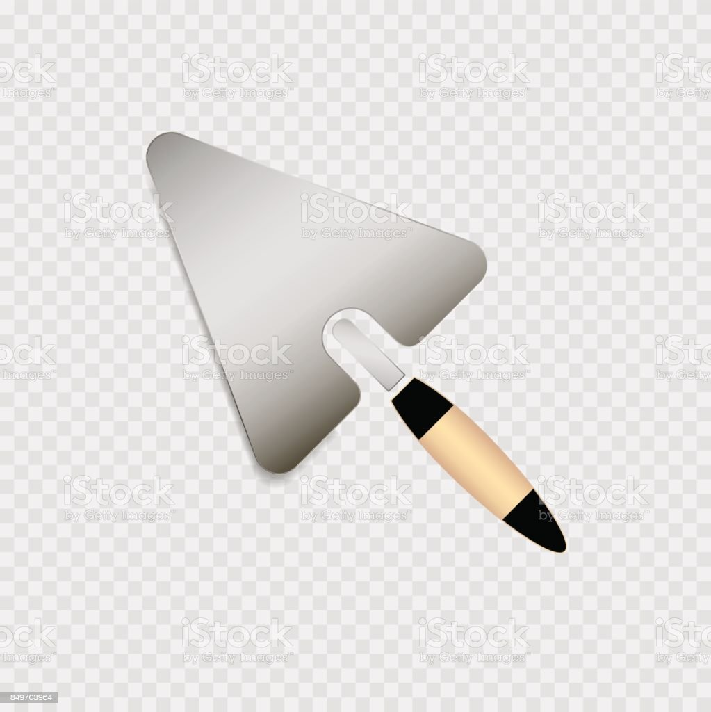 Trowel with yellow handle icon on the grey background vector art illustration