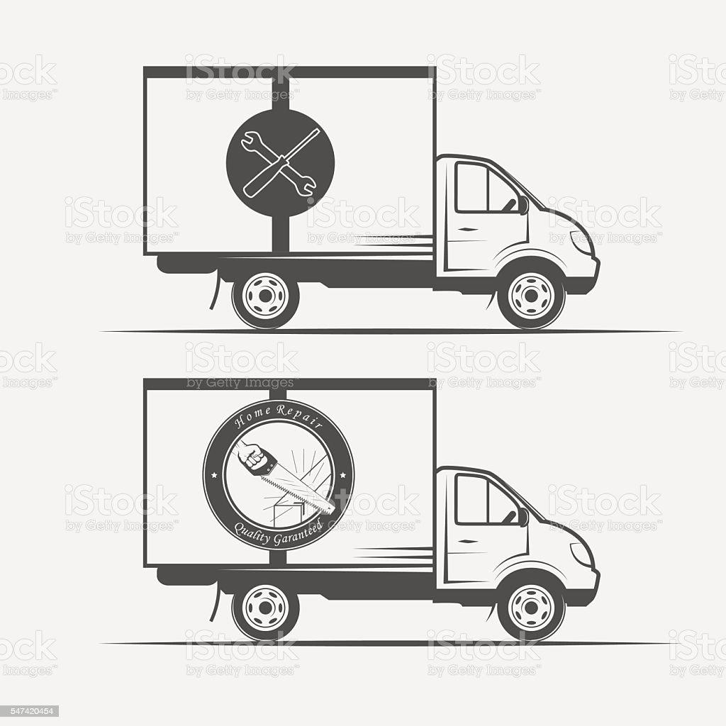 truck advertising repair and construction vector art illustration
