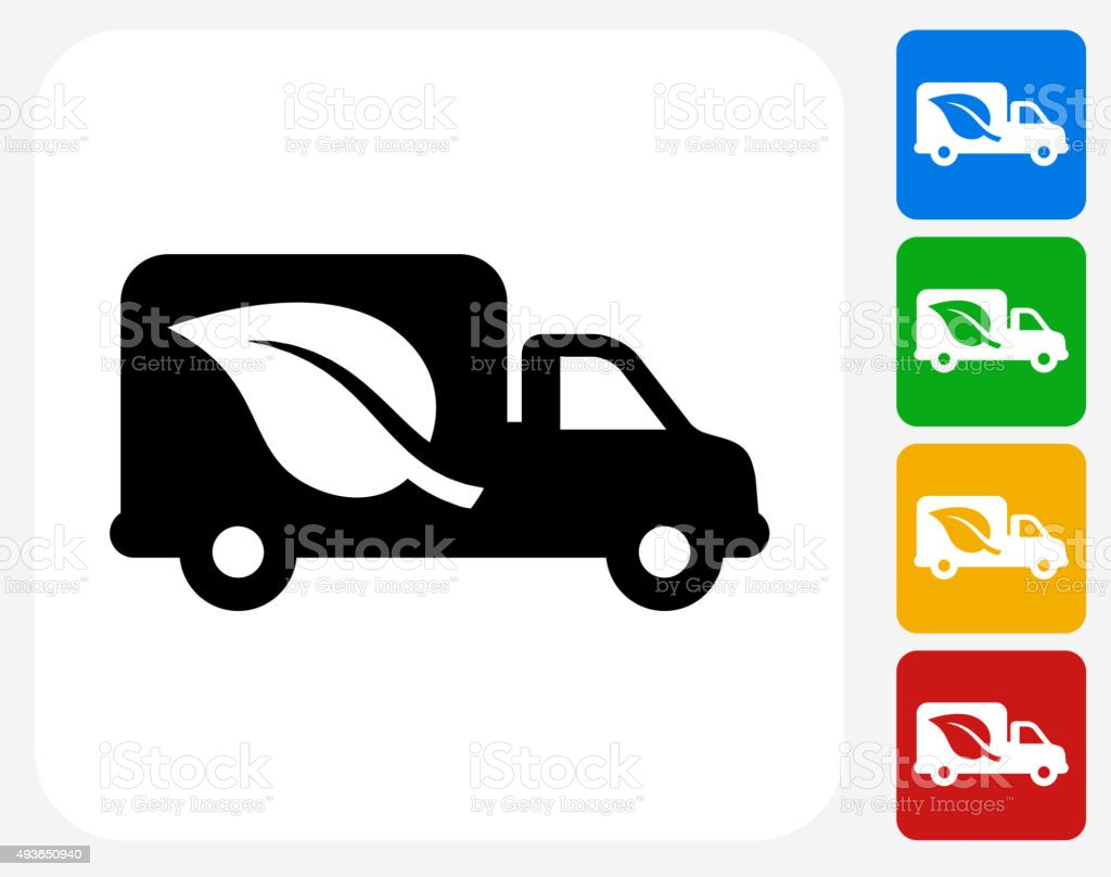 Truck and Leaf Icon Flat Graphic Design vector art illustration