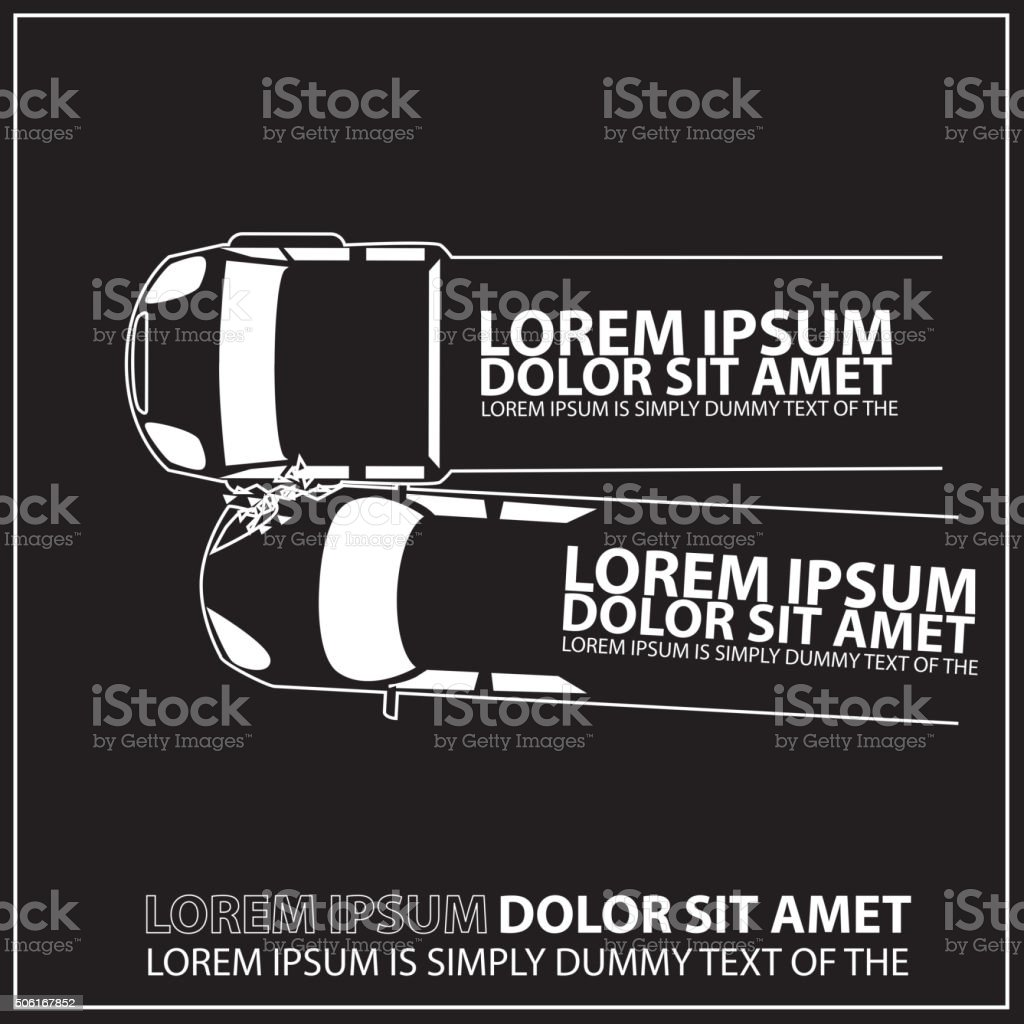 Truck and private car squeeze collision caused damage. vector art illustration