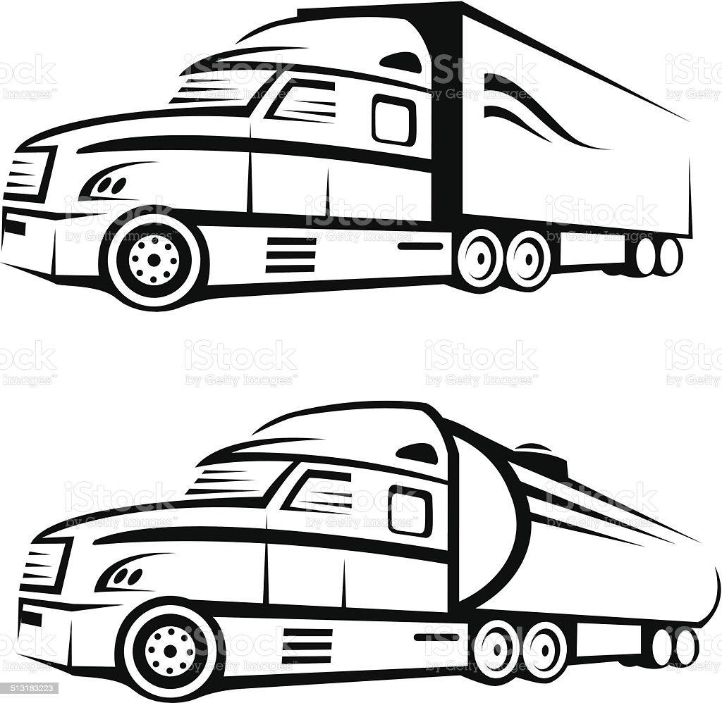 truck and tank truck vector art illustration