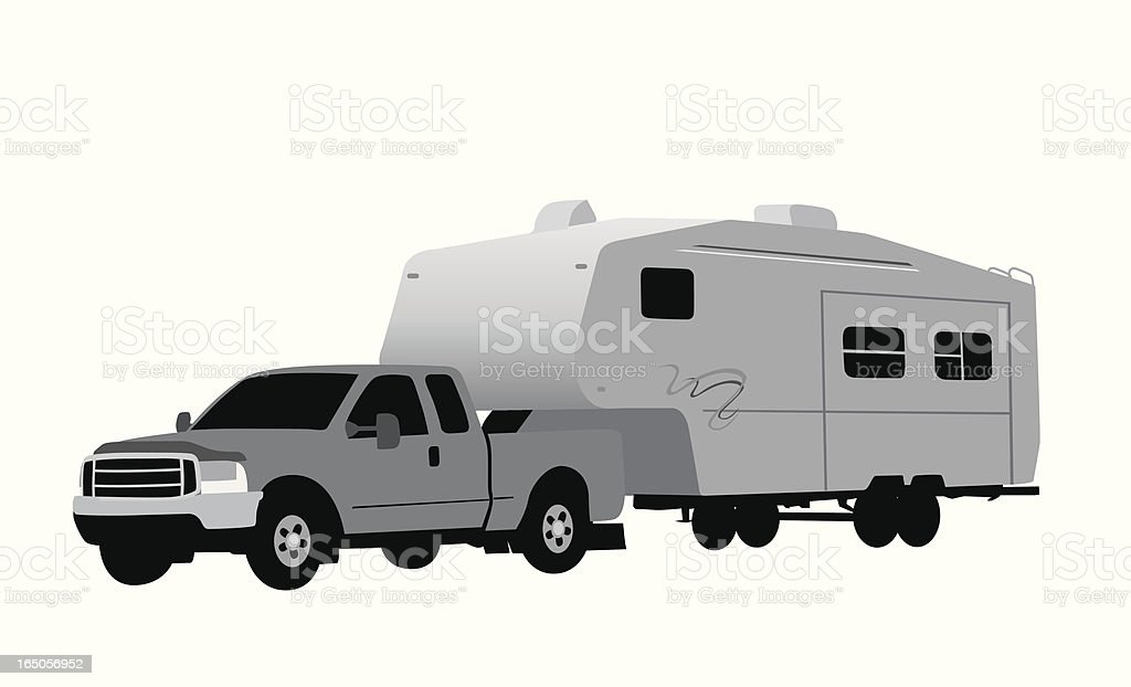 Truck Camper Vector Silhouette vector art illustration