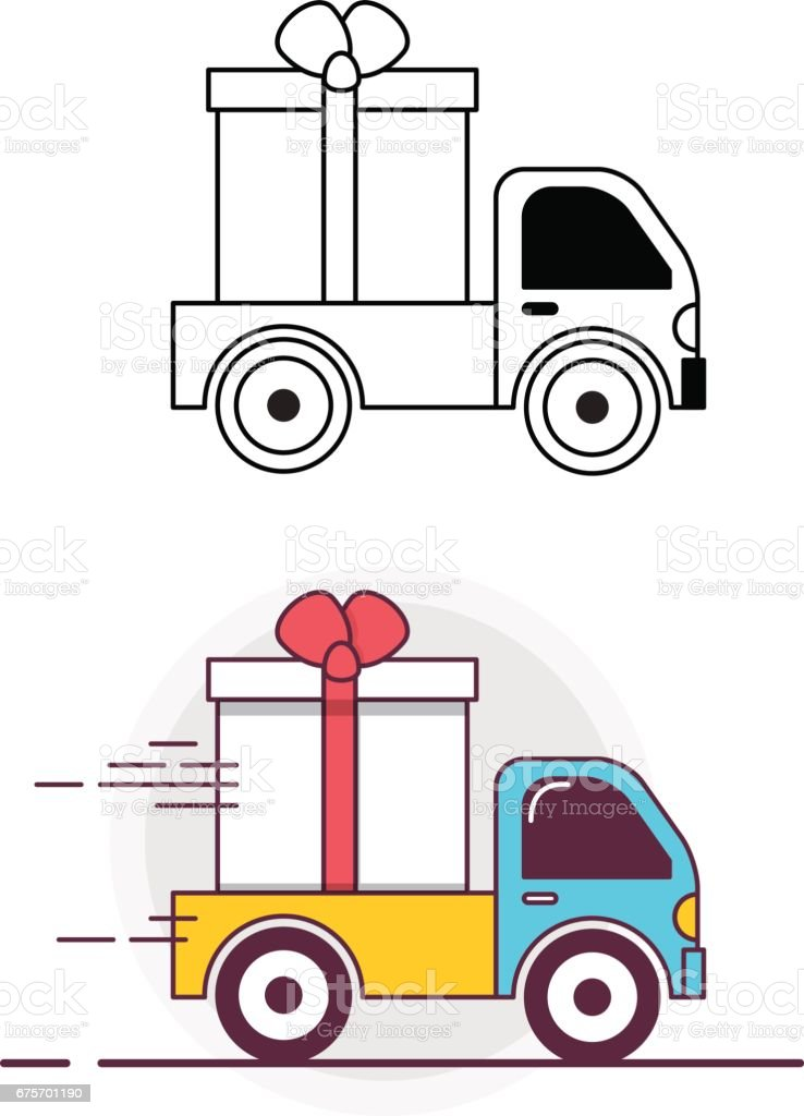 Truck carries a gift box. Lineart icon and colored icon vector art illustration