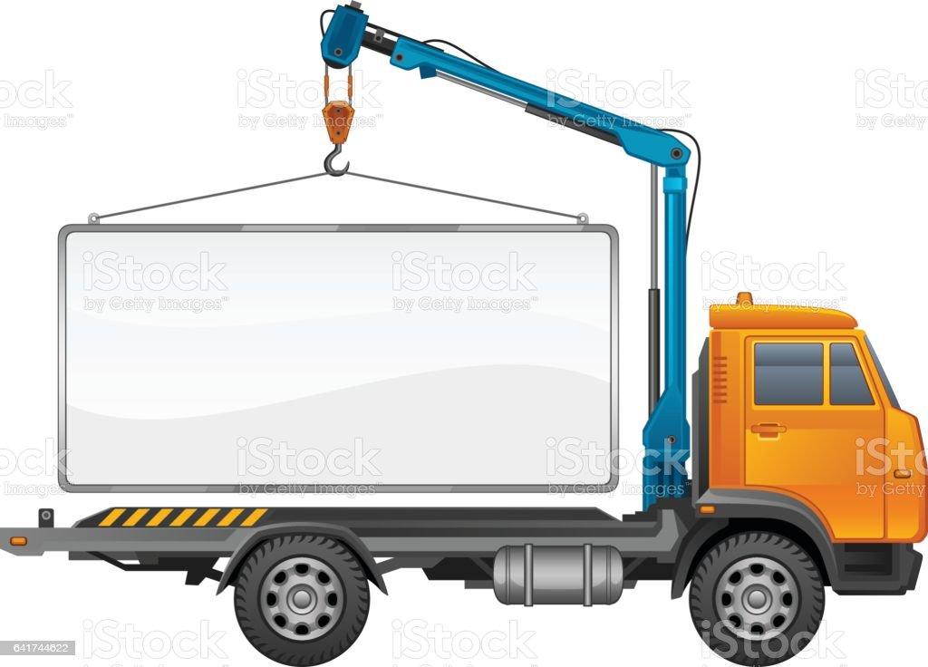 Truck crane vector art illustration