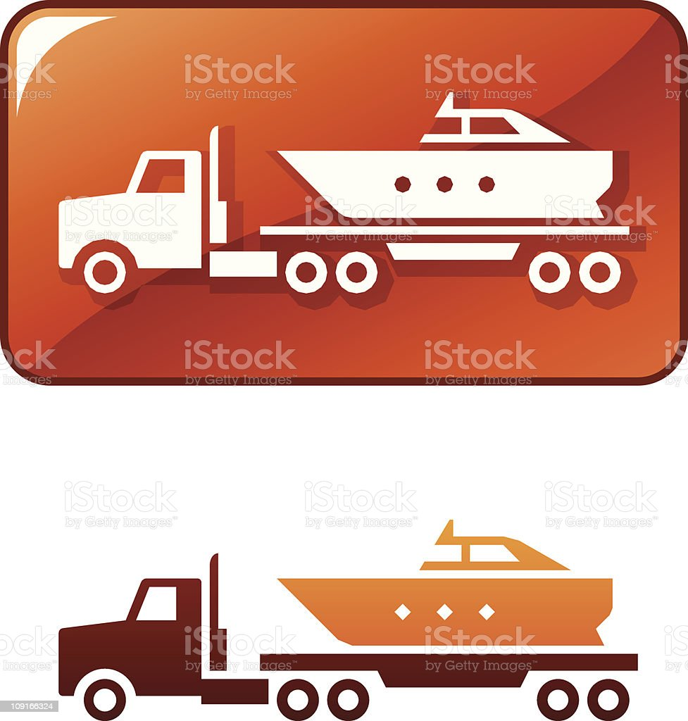 Truck delivers the boat. Vector icon vector art illustration