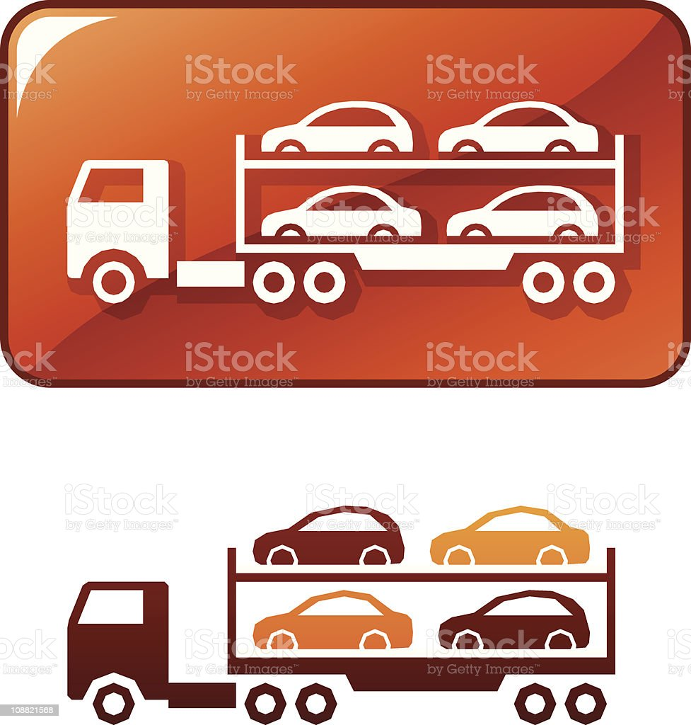 Truck delivers the cars. Vector icon vector art illustration