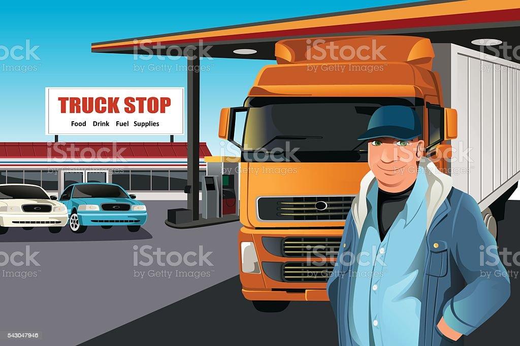 Truck driver vector art illustration