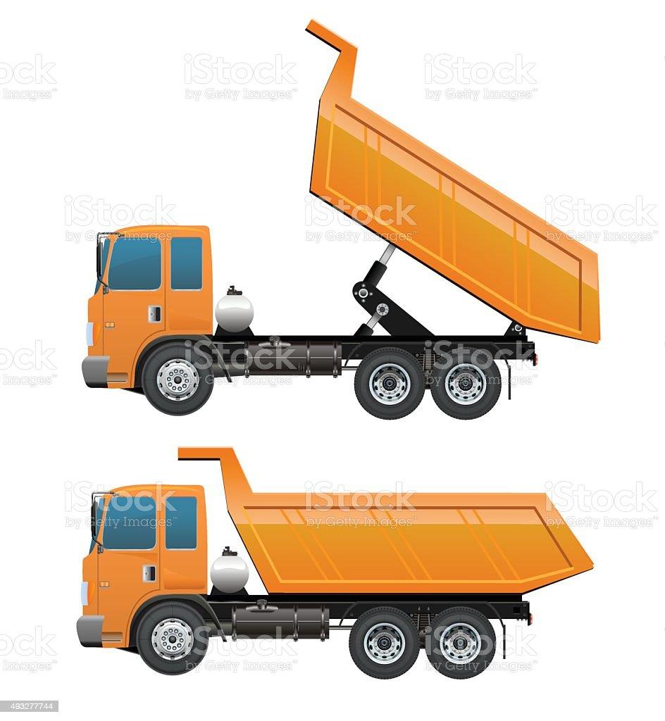 Truck Dump and dumping Construction machinery set vector art illustration