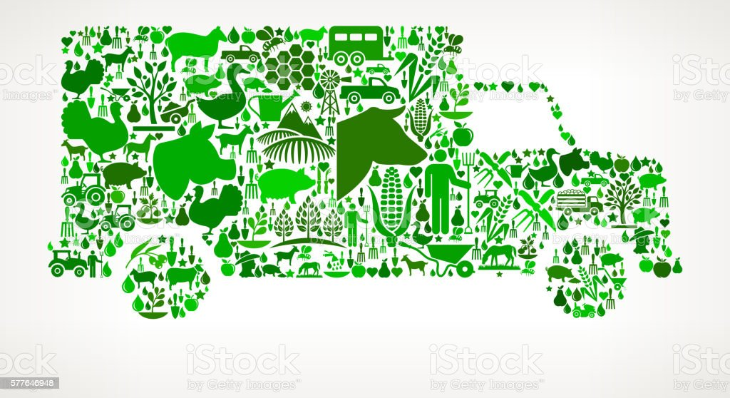 Truck Farming and Agriculture Green Icon Pattern vector art illustration