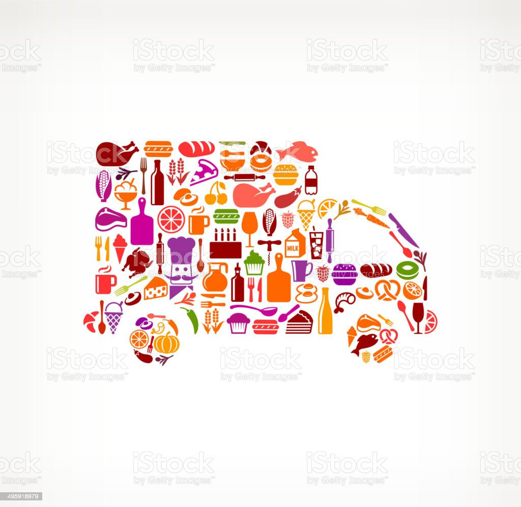 Truck on royalty free vector icons Food and Drink. The vector icons...