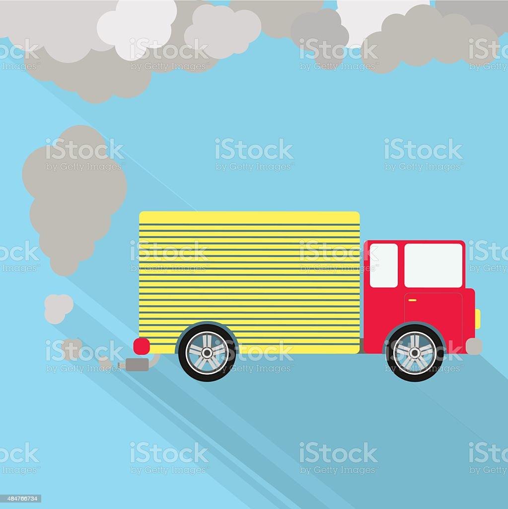 Truck fuming vector art illustration