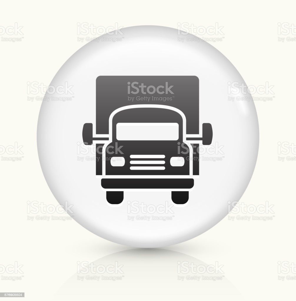 Truck icon on white round vector button vector art illustration
