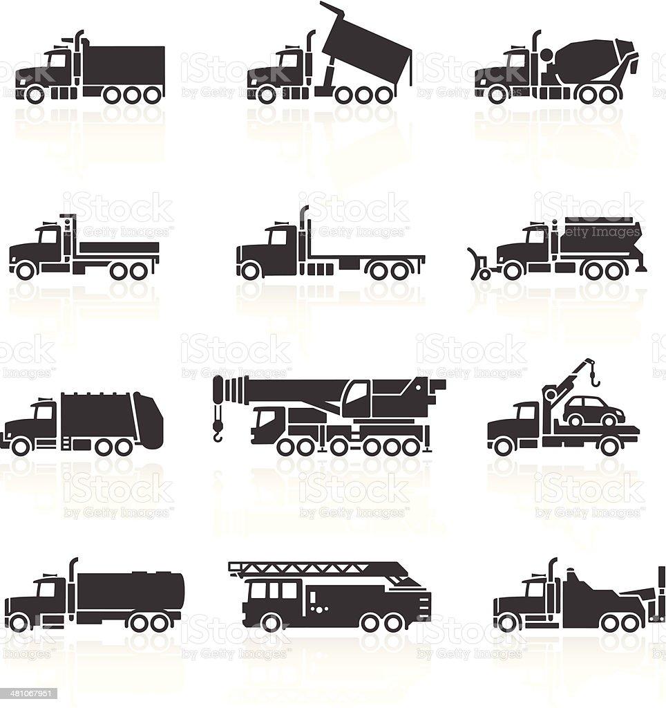 Truck Icons Set vector art illustration