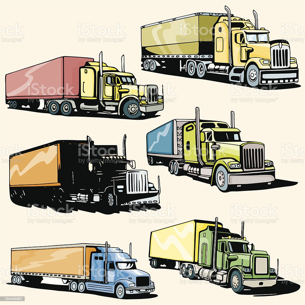 Truck Illustrations XLI: Highway Trucks (Vector) royalty-free stock vector art