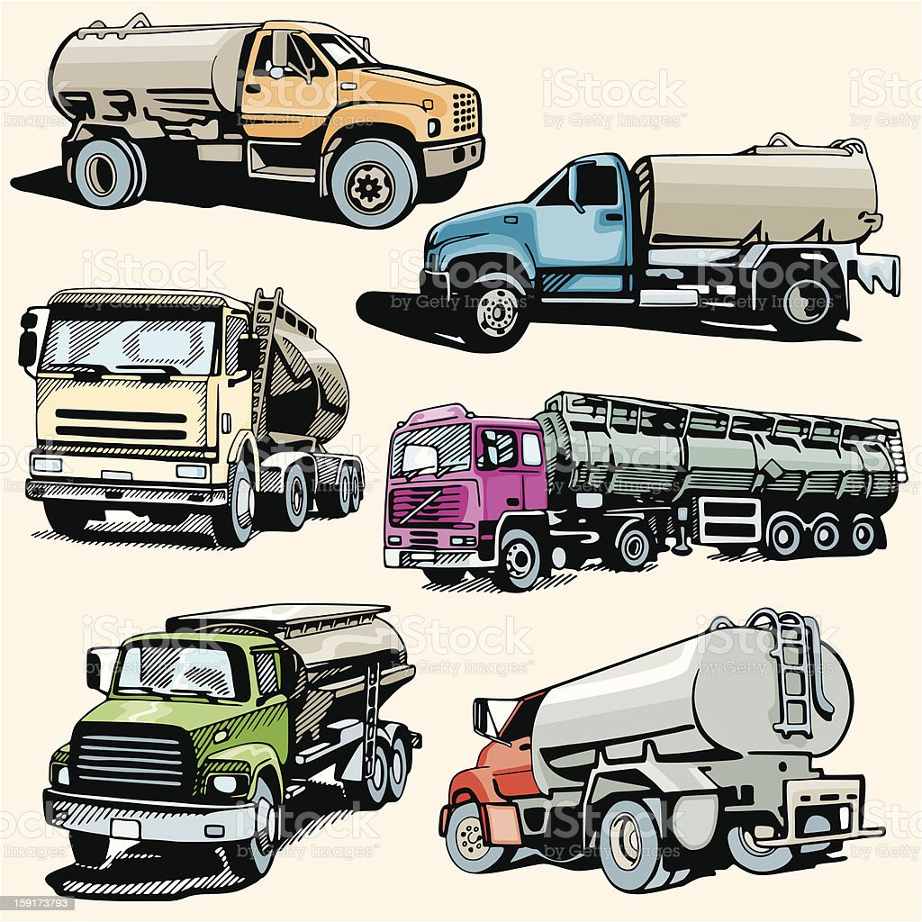 Truck Illustrations XXX: Tankers (Vector) royalty-free stock vector art