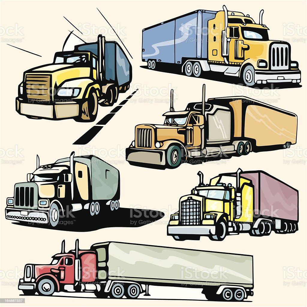 Truck Illustrations XXXIII: Highway Trucks (Vector) royalty-free stock vector art
