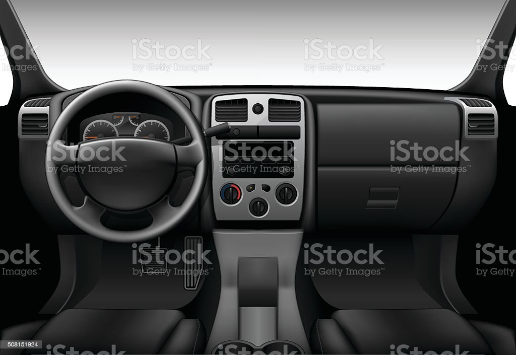 Truck interior - inside view of car, dashboard vector art illustration