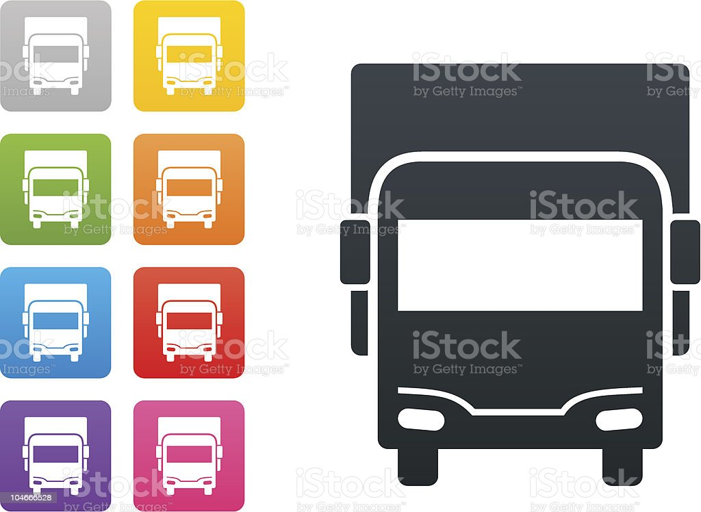 truck on coloured button - design elements vector art illustration