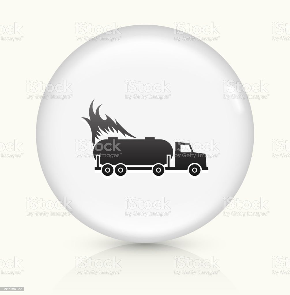 Truck on Fire icon on white round vector button vector art illustration
