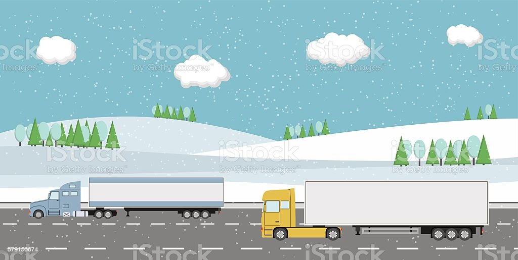 Truck on the road. Delivery concept. vector art illustration