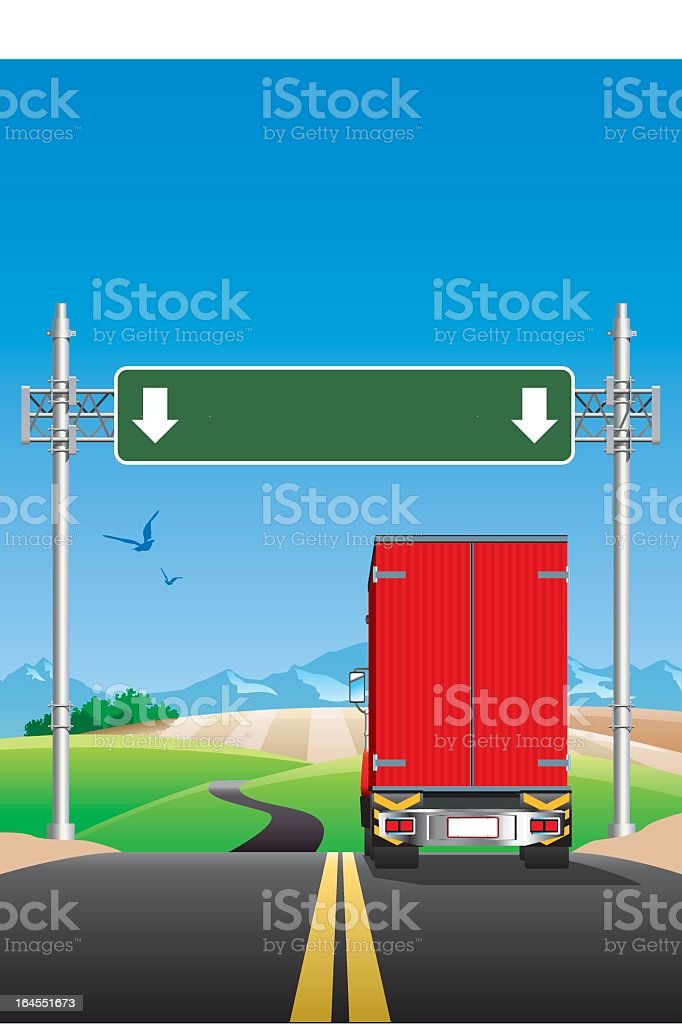 Truck on the road with road signs vector art illustration
