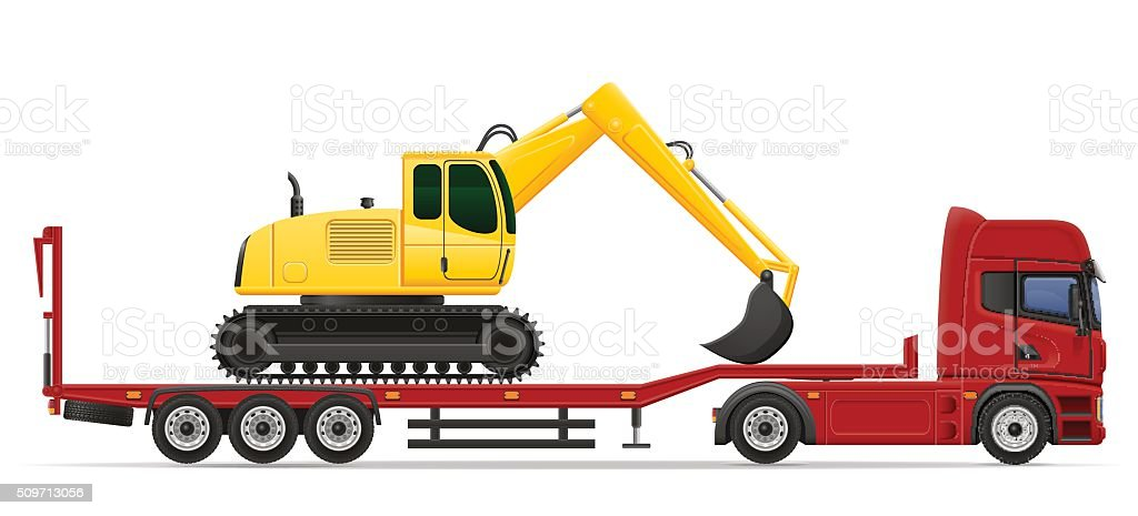 truck semi trailer delivery and transportation of construction m vector art illustration