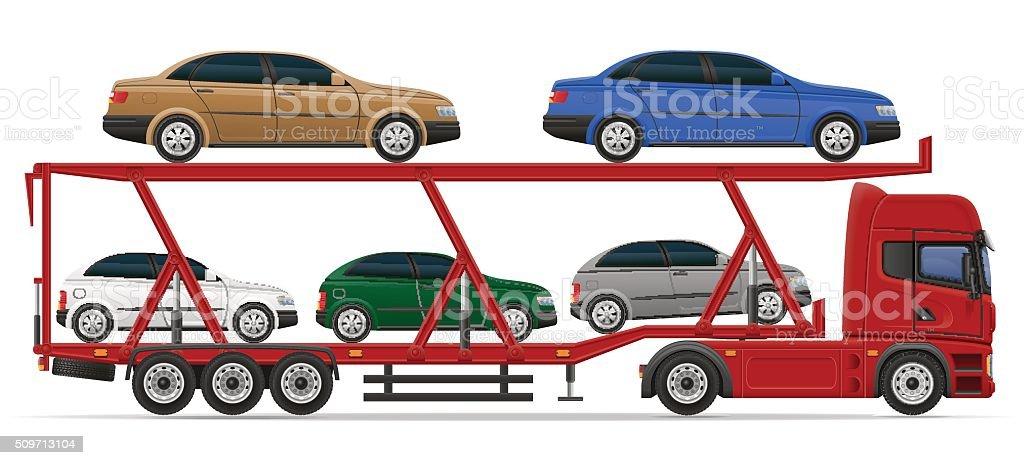truck semi trailer for transportation of car concept vector illu vector art illustration