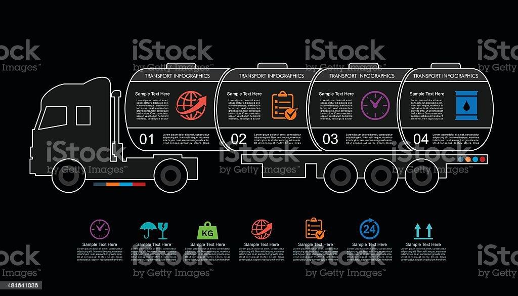 Truck Tank Transport Infographics in Linear Style vector art illustration