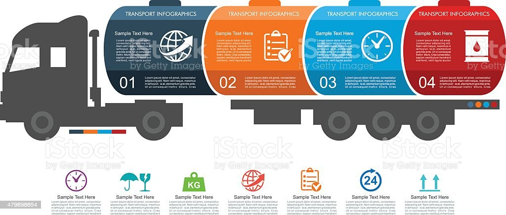 Truck Tank Transport Infographics vector art illustration