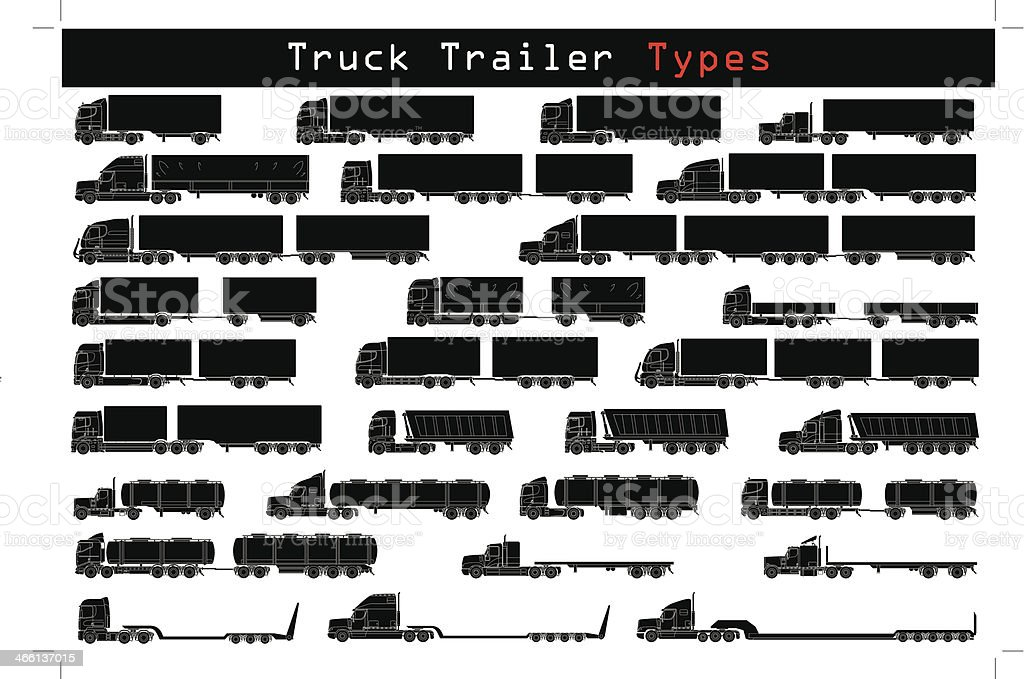 Truck trailer types vector art illustration