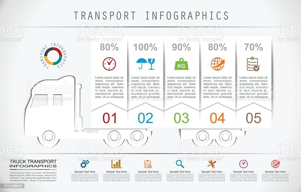 Truck Transport Infographics in Flat Paper Style vector art illustration
