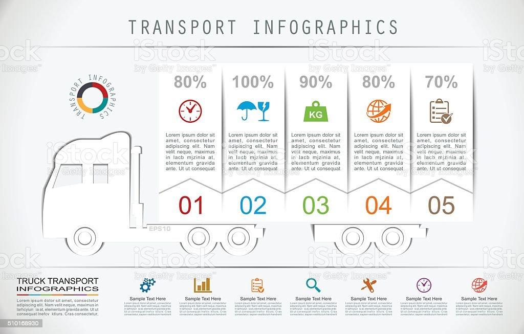 Truck Transport Infographics in Flat Paper Style vector art illustration