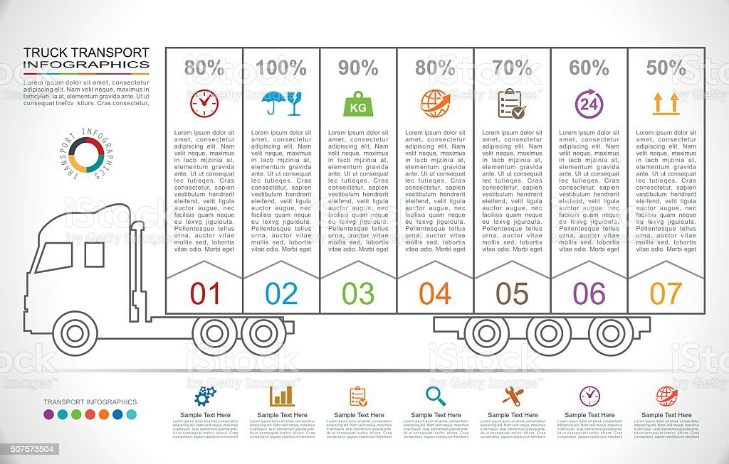 Truck Transport Infographics in Linear Style vector art illustration